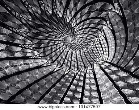 Abstract fractal background - computer-generated image. Fractal art - unusual spiral tunnel. Trendy fractal for prints, covers, web-design