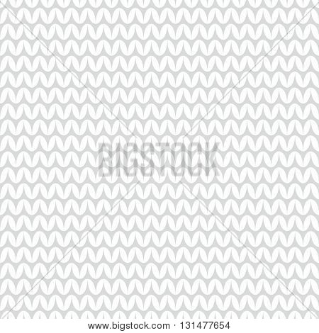 Tile grey and white knitting vector pattern or winter background