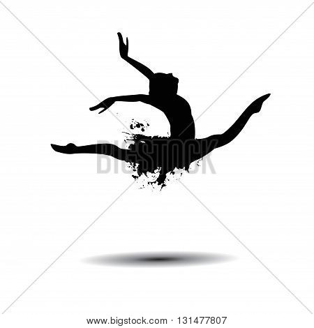 Vector ballerina silhouette isolated black on white