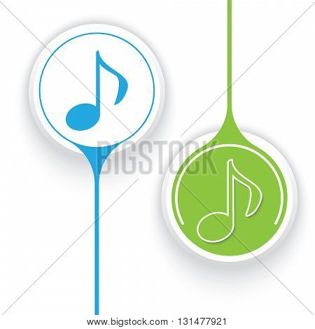 Two vector objects and colored music icon