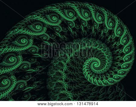 Abstract fractal spiral - computer-generated image. Fractal artwork - lace spiral closeup green image. Monochrome pattern for banners, posters, prints, web design