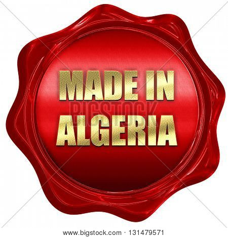 Made in algeria, 3D rendering, a red wax seal