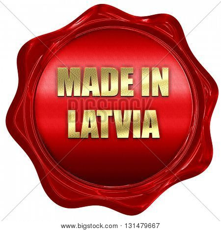 Made in latvia, 3D rendering, a red wax seal