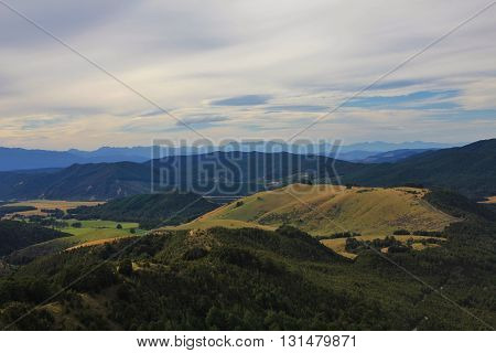View from Mt Robert. Rural landscape on the South Island. Evening scene.