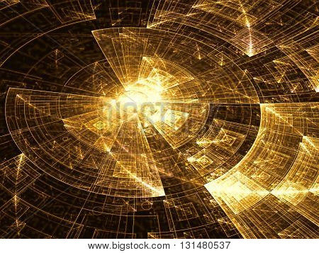 Abstract tech background - computer-generated image. Digital art: shiny metal or glass disc surface divided into segments. Technology background for web-design, banners, posters.