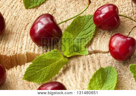 Cherries with water drops on the stump