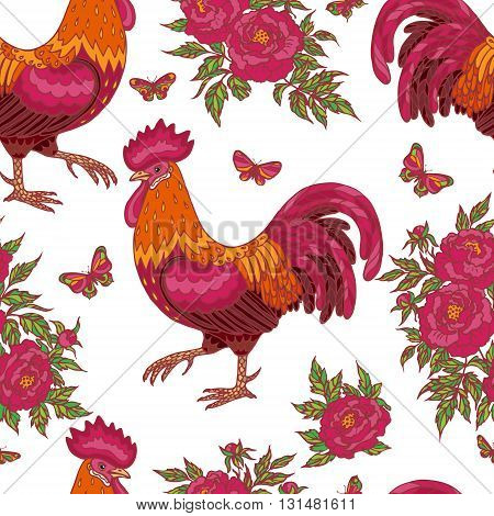 Hand drawn contoured red rooster flying butterflies and pink peony flowers on white background. Fire rooster is Chinese calendar symbol. Seamless pattern.