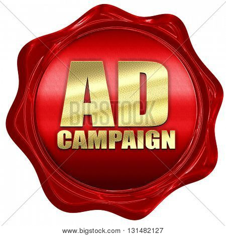 Ad campaing, 3D rendering, a red wax seal
