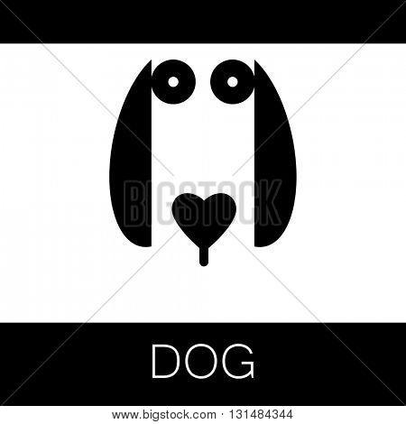 Dog logotype. Dog animal sign. Dog illustration idea for logo, emblem, symbol, icon.