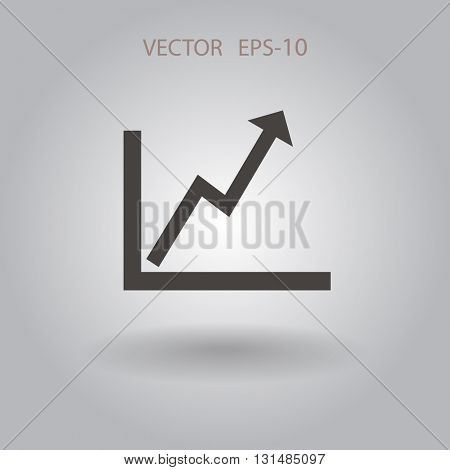 Flat icon of graph