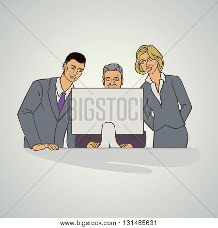 Vector illustration with groupe of office people who watching at computer