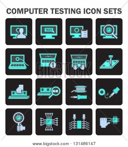 Computer testing and tools vector icon sets design.