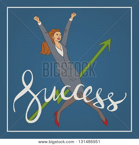 Vector illustration with woman  jumping up and happy with handwriting lettering word success