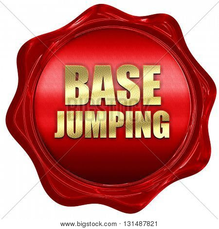 base jumping, 3D rendering, a red wax seal