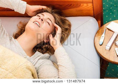 Sick Woman Suffering From Headache Pain.