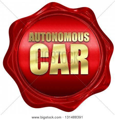 autonomous car, 3D rendering, a red wax seal