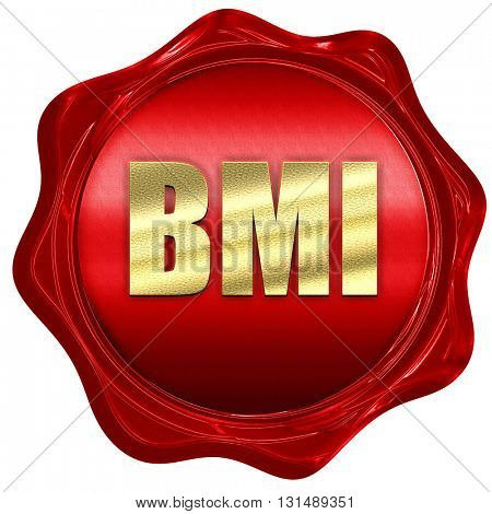 bmi, 3D rendering, a red wax seal