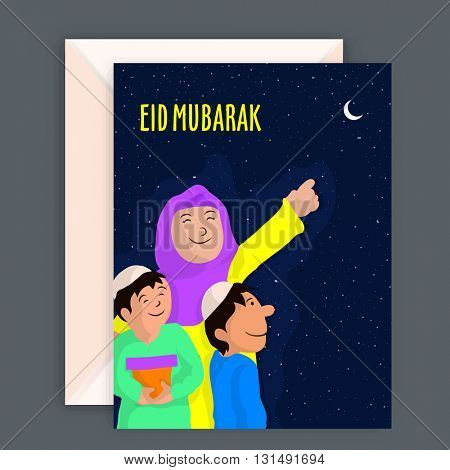 Beautiful Greeting Card with Envelope, Illustration of a happy Islamic Family pointing towards Moon for wishing and celebrating on occasion of Eid Mubarak.