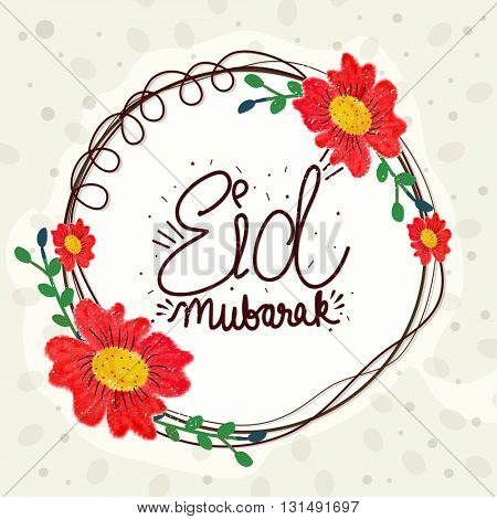Red creative flowers decorated beautiful Greeting Card for Muslim Community Festival, Eid Mubarak Celebration.