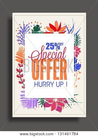 Colourful flowers decorated, Special Offer Sale Poster, Sale Banner, Sale Flyer. 25% Discount, Vector illustration.