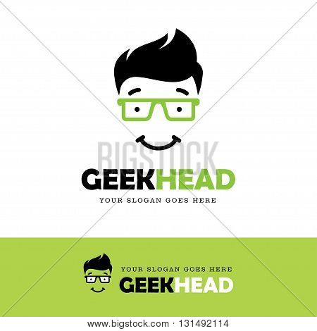 Cute smiling geek face logo in green glasses