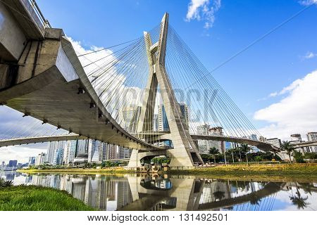 Ponte Estaiada bridge in Sao Paulo, Brazil.