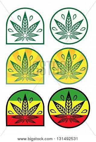 A set of logo with hemp. Colored icons with cannabis in a flat style.