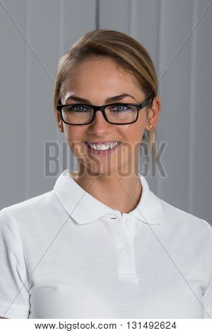 Portrait Of Beautiful Happy Woman Wearing Spectacles