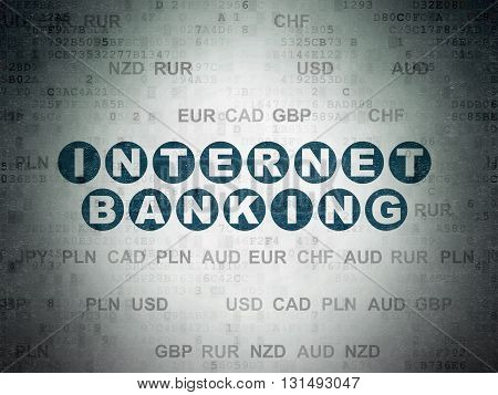 Currency concept: Painted blue text Internet Banking on Digital Data Paper background with Currency