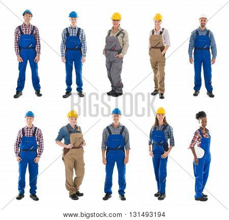 Set Of Construction Workers Standing Against White Background