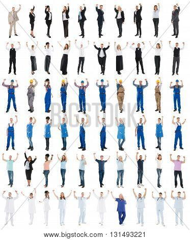 Set Of People With Various Occupations Raising Arms Against White Background