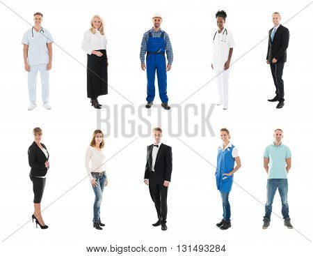 Collage Of Happy People With Various Occupations Standing Against White Background