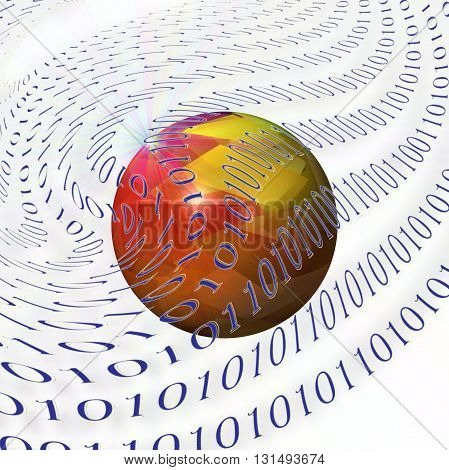 Abstract coloring special  effect gradients background with visual lens flare effect,binary code numbers one and zero