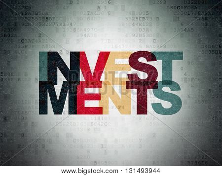 Currency concept: Painted multicolor text Investments on Digital Data Paper background