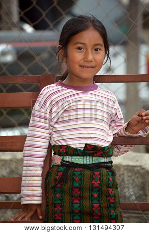 SANTA CATARINA PALOPO DE ATITLAN GUATEMALA NAY 01 2016: Portrait of a Mayan child. The Mayan people still make up a majority of the population in Guatemala,