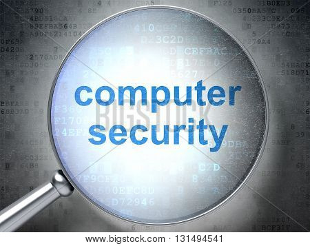 Privacy concept: magnifying optical glass with words Computer Security on digital background, 3D rendering