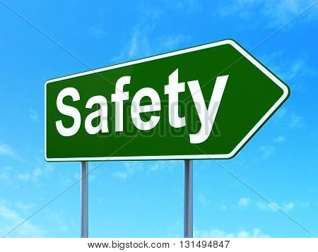 Protection concept: Safety on green road highway sign, clear blue sky background, 3D rendering