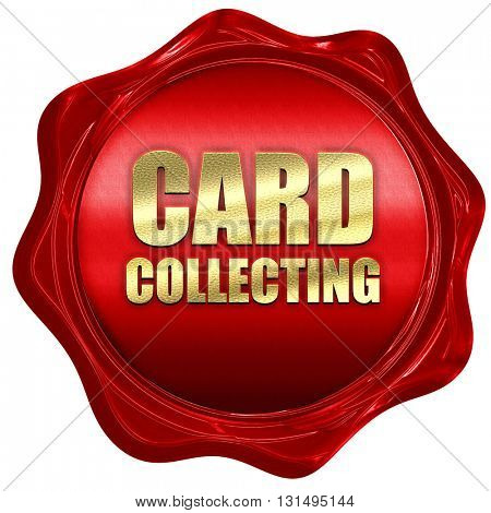 card collecting, 3D rendering, a red wax seal