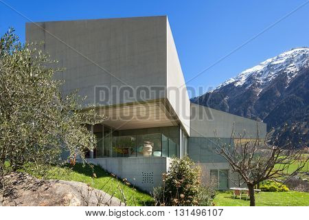 Modern mountain house, view from the garden