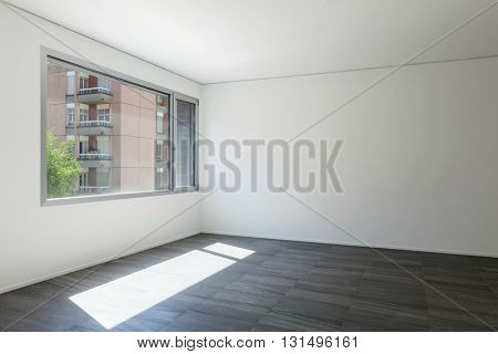 Building apartment, empty room with white walls and window
