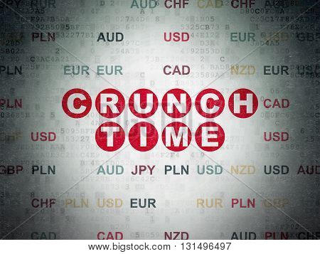 Business concept: Painted red text Crunch Time on Digital Data Paper background with Currency