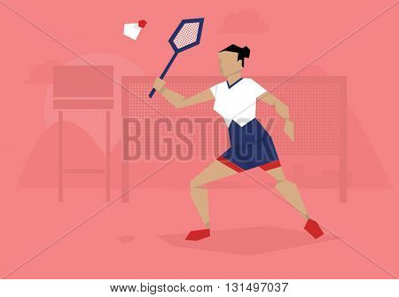 Illustration Of Female Badminton Player Competing In Event