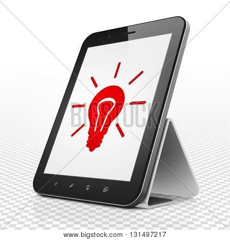 Business concept: Tablet Computer with red Light Bulb icon on display, 3D rendering