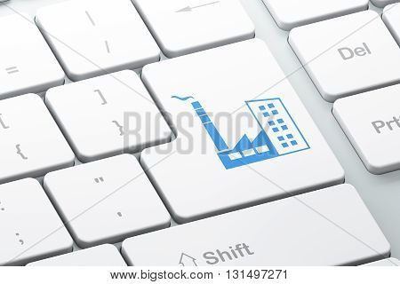 Finance concept: Enter button with Industry Building on computer keyboard background, 3D rendering