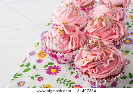 Pink delicious cupcakes. Birthday cupcakes. Homemade cupcake. Sweet cupcake. Gourmet cupcakes. Sweet dessert. Sweet pastry.