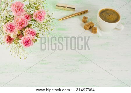 Roses and coffee styled background. Invitation mockup. Styled mockup. Product mockup. Desk mockup. Desktop mockup. Birthday invitation. Birthday mockup. Birthday background.
