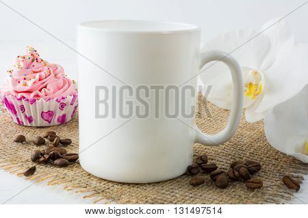 Coffee mug mockup with muffin. White mug mockup. Mug Product Mockup. Styled mockup. Product mockup. White cup mockup. Cup mockup. Blank mug.
