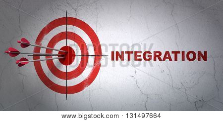 Success finance concept: arrows hitting the center of target, Red Integration on wall background, 3D rendering