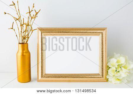 Landscape gold frame mockup. Landscape mockup. Frame mockup. Poster Mockup. Styled mockup. Product mockup. Design Mockup. Gold frame mockup. White frame mockup.