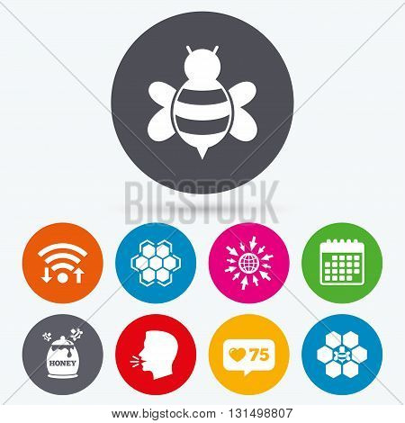 Wifi, like counter and calendar icons. Honey icon. Honeycomb cells with bees symbol. Sweet natural food signs. Human talk, go to web.